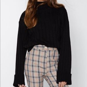 0ece1d55966d Black Cropped Turtleneck Sweater